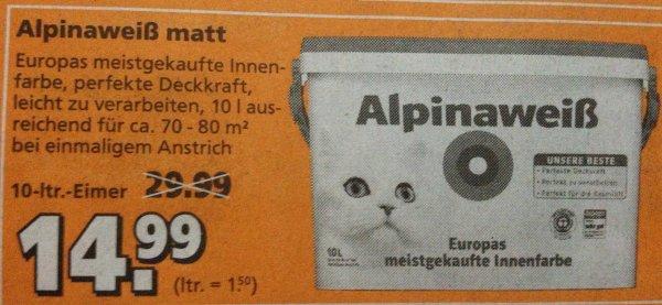 [Lokal Berlin-Lichtenberg] Globus Baumarkt - Alpinaweiß matt mit Katze, 10-Liter-Eimer (1,50 €/ltr.)