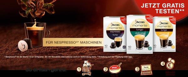 CASHBACK - Jacobs Momente Instant Kaffee kostenlos Testen - Wert ca. 5-8 Euro