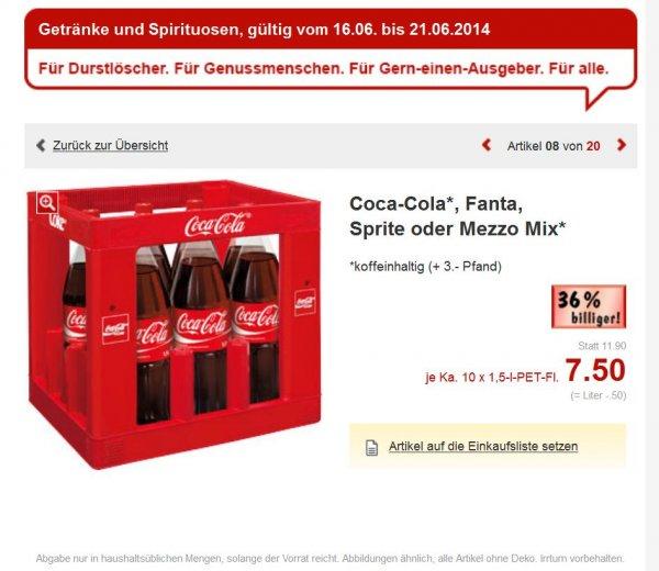 (Bundesweit) Kaufland Coca-Cola, Fanta, Sprite oder Mezzo Mix 10 x 1,5-l