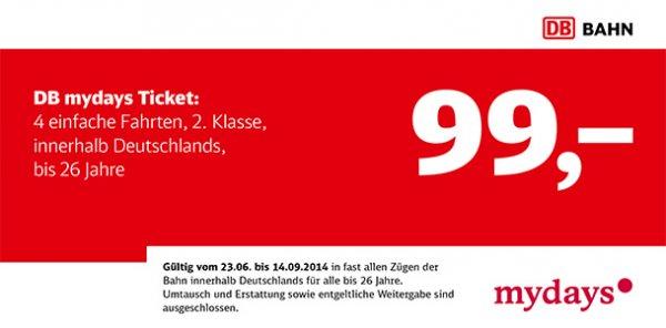 [Deutsche Bahn] 4 Fahrten innerhalb Deutschlands für 99€ (bis 26 Jahre)
