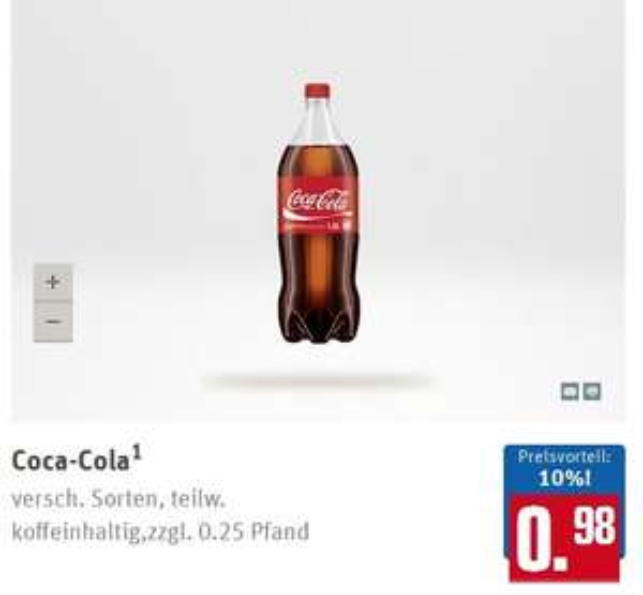 [REWE] Coca-Cola 4x1,5 L für Paybackunden 2,92 EUR (0,49 EUR/L)