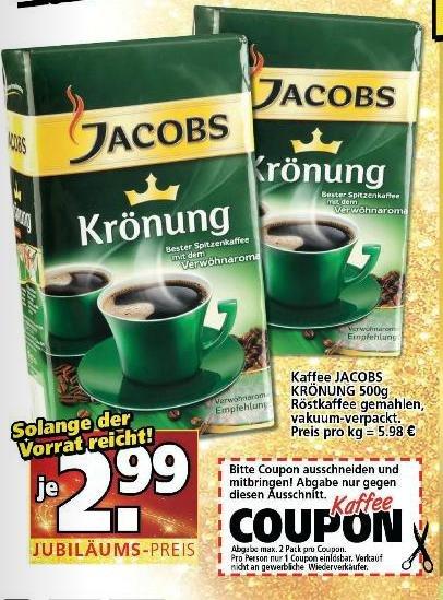 Original Jacobs Krönung 500g nur 2,99