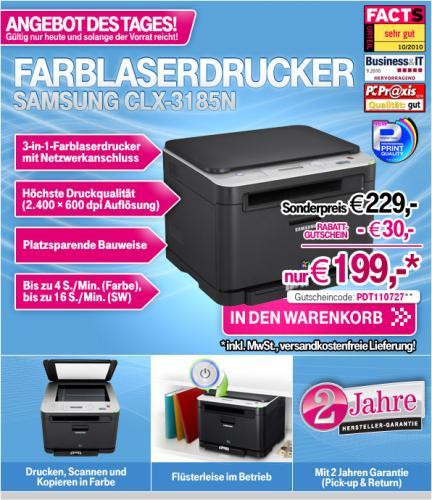 Samsung CLX-3185FN Farblaserdrucker inkl. Netzanschluss