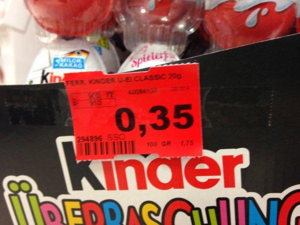Ü-Ei für 0,35€ bei Budnikowski in Hamburg
