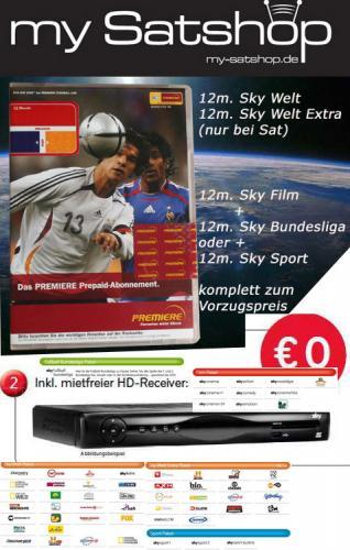 Sky 1 Jahr Prepaid Angebot (Welt + 2 Premium Pakete)