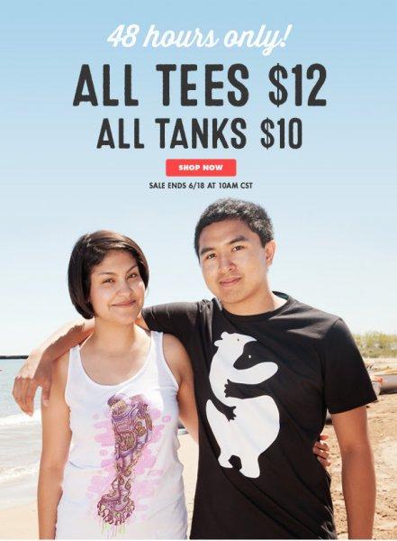 Threadless T-shirts $12 & Tank Tops $10!