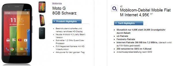 O2 Mobile M + Motorola Moto G für 4,95€ im Monat @logitel
