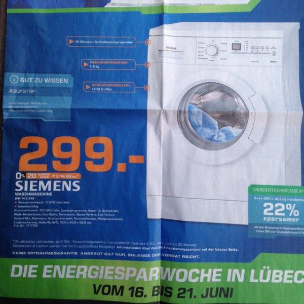 [Lokal Saturn Lübeck] Siemens WM 14 E 346 Waschmaschine für 299€