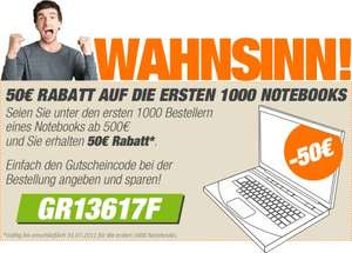50€ Rabatt für Notebooks ab 500€ bei notebooksbilliger.de