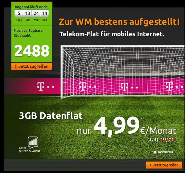 3GB Datenflat im Netz der Telekom (Vertrag bei Mobilcom-Debitel) für 4,99€ im Monat