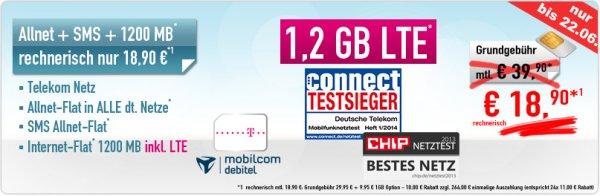 Telekom Allnet + SMS + 1,2 GB Internet LTE