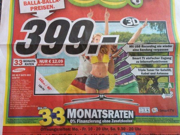 [Lokal Albstadt] Samsung UE40F6470 Mediamarkt Albstadt 399€