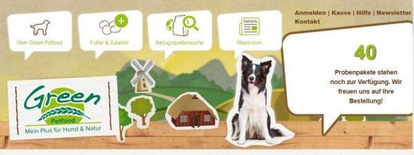 (Hundefutter) kostenlose Futterprobe (2Stück) + 5 Euro Gutschein gratis @green-petfood.de