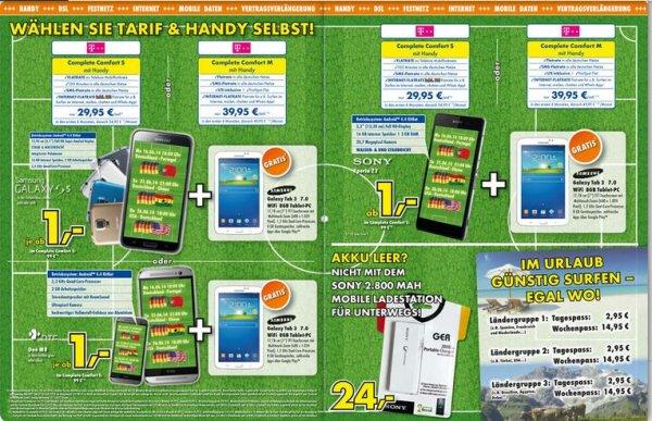Lokal Delbrück- Verschiedene Handys + Galaxy Tab 3, zum Teil mit Auszahlung (T-Mobil)