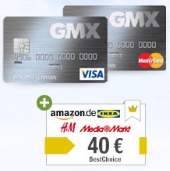 GMX Kreditkarte für Premium Kunden 1 Jahr kostenlos + 40€ Best Choice Gutschein
