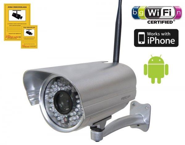 Foscam Netzwerkkamera FI9805W 1,3 Megapixel Auflösung ( 4 mm Linse, 70° Winkel, FREE DDNS, MJPEG, 1280x960 Pixel, WIFI N mit 300MBit/s, 36 IR LEDs für bis zu 30m Nachtmodus, Für MAC, Windows, Android und IPHONE)  @NBB