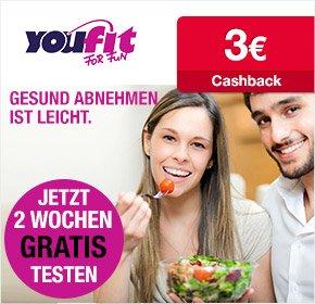[Qipu] Nur für hartgesottene myDealzer- youfit kostenlos testen und 3€ Cashback erhalten