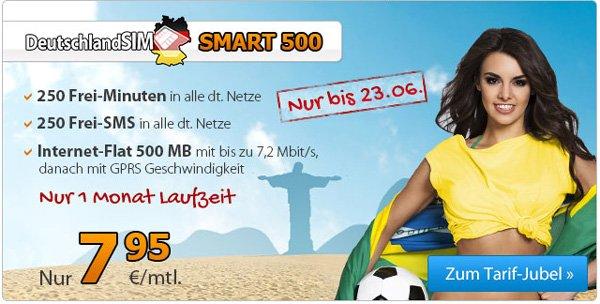 DeutschlandSIM Smart 500 für 7,95€ im Monat – o2 Netz -  250 Minuten, 250 SMS, 500 MB Internet, 1 Monat Mindestvertragslaufzeit