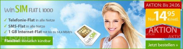 winSIM Flat L 1000 -  Allnet Flat, Internet-Flat 1GB, SMS-Flat, keine MVZ - statt 19,95€ nur 14,95€ mtl