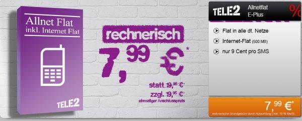 Tele2 Allnetflat (mit Internet) E-Plus 500MB @handyflash löschen doppelt sorry