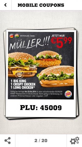 Burger King Coupon 3 Burger zum Preis von 5,99 €