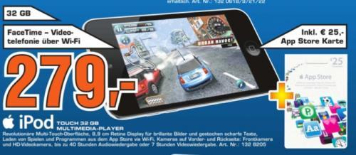 Bundesweit? iPod Touch 32GB mit 25 Euro AppKarte für 279 Euro