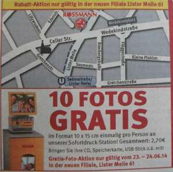 [Lokal Hannover] Rossmann Lister Meile - 10 kostenlose Bilder (23-24.06.2014)