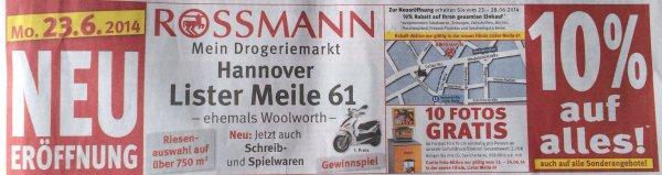 [Hannover Lokal] Rossmann 10 % Eröffnungs-Rabatt vom 23.-28. Juni