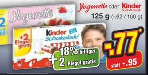 (Netto ohne Hund) Kinderschokolade o. Yogurette mit 2 extra Riegeln 77 Cent
