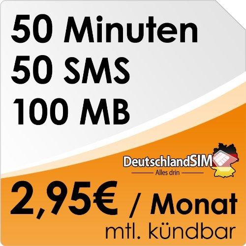 DeutschlandSIM SMART 50 [Nano-SIM] monatlich kündbar (100MB Daten-Flat, 50 Frei-Minuten, 50 Frei-SMS, 2,95 Euro/Monat, 15ct Folgeminutenpreis) o2-Netz