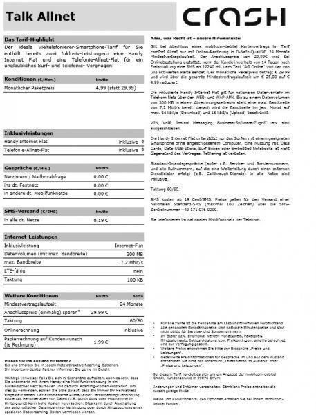 Allnet-Flat und Internet-Flat mit 300MB im Telekom-Netz für 4,99€ pro Monat