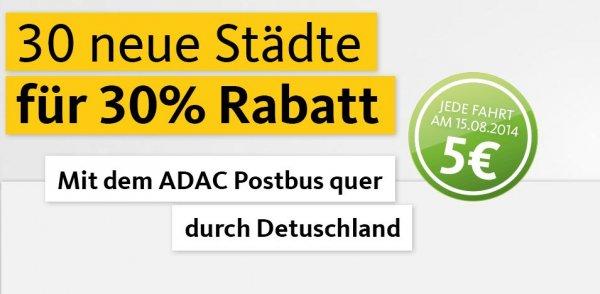 [ADAC Postbus] 30 Neue Ziele mit 30% Rabatt buchen und am 15.8. alle Fahrten auf den neuen Strecken nur 5€
