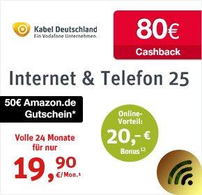 Kabel Deutschland 25 Mbit/s mit 50€ Amazon Gutschein+ 80€ Cashback von Qipu + 20€ Startguthaben- effektiv 15,31€ / Monat