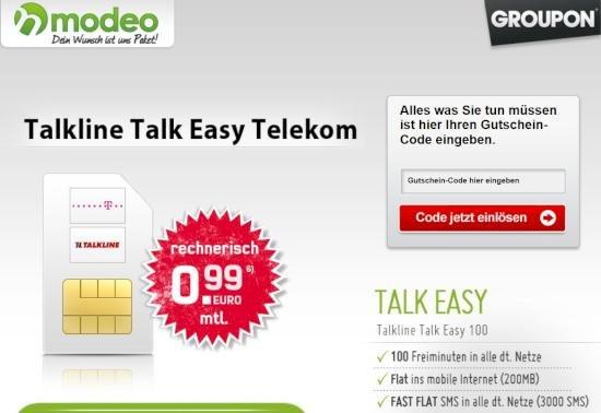 [Groupon] 100 Min, 3000 SMS, Internet-Flat (200 MB) im Telekom-Netz für 0,99 € mtl.