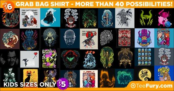 Pop, Nerd ,Geek & Mash up T-Shirts im Grab Bag Sale $6 über 40 Designs + $5 Kids Shirts
