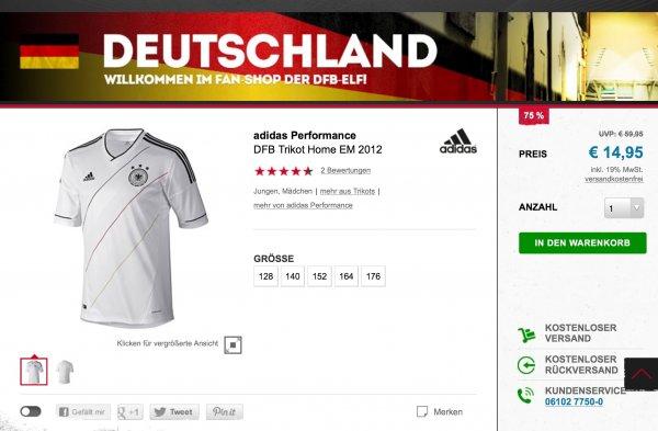 DFB Trikot Home EM 2012, Kindergrößen, für 13,45 € @outfitter.de, über 50 % unter idealo