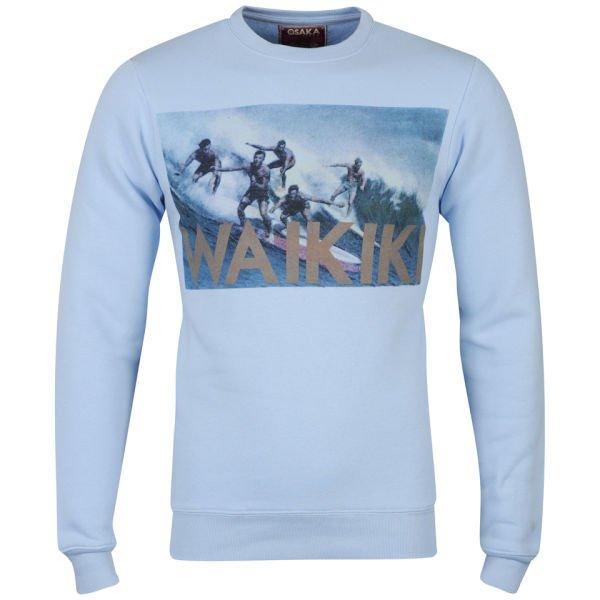 Osaka Men's Waikiki Photo Print Crew Neck Sweatshirt - Sky