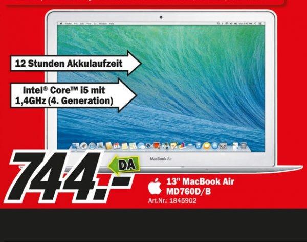"""Apple MacBook Air 13"""" (MD760D/B) für 744€, WM Brasilien PS3 für 25€,PS4+Fifa 14 für 399€, und weitere Sonntagsangebote Lokal [Mediamarkt Köln Kalk]"""