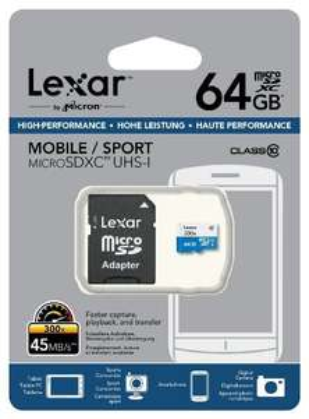 Lexar LSDMI64GBBEU300A Class 10 micro-SDXC 64GB Speicherkarte mit Adapter (300x)