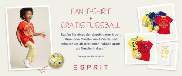 ESPRIT Fan-T-Shirt für Kinder ab 16,68€ + Gratis Fußball bei Amazon