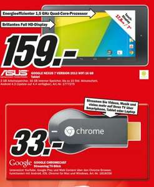 Nexus 7 (2013) WiFi 16GB für 159€, Chromecast Stick für 33€,Toshiba Stor.e Canvio 1TB für 49€ Lokal [Mediamarkt Gütersloh]