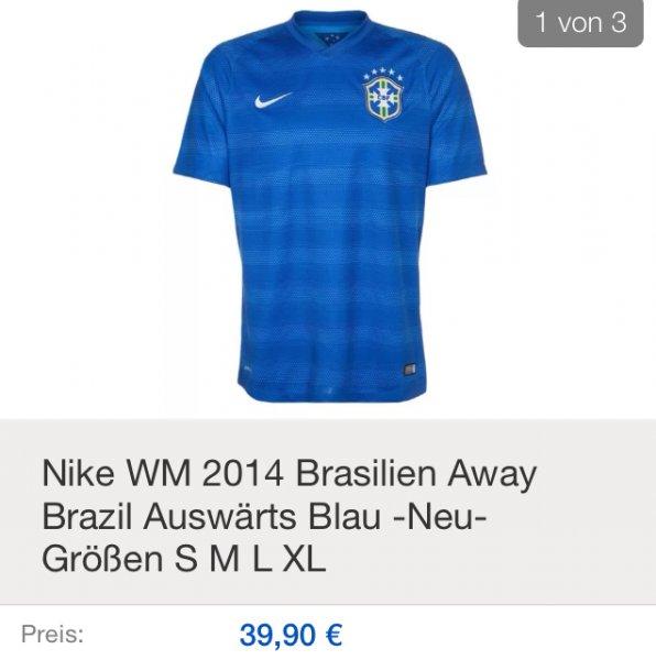 Ebay Nike WM 2014 BRASILIEN Trikots blau auswärts -neu mit Etikett -