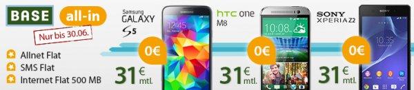 Top Smartphone + Allnet Flat + SMS Flat + 500 MB Internetflat für 30/31 Euro