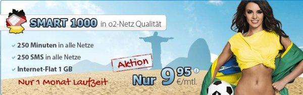 DeutschlandSIM Smart 1000 o2 Netz - 250 Minuten, 250 SMS, 1 GB Internet, monatlich kündbar, pro Monat 9,95€, neu ab 03.07.14 O2 FLAT L 1000(14,95€) / L2000(19,95€) mit bis zu 14,4 MBit/s