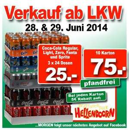 LOKAL Coca Cola (regular, light, zero), Fanta, Sprite 3x24x330ml (pfandfrei)