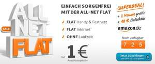 2 Monate Simyo All-Net-Flat für nur 1€ + 25€ Amazon Gutschein
