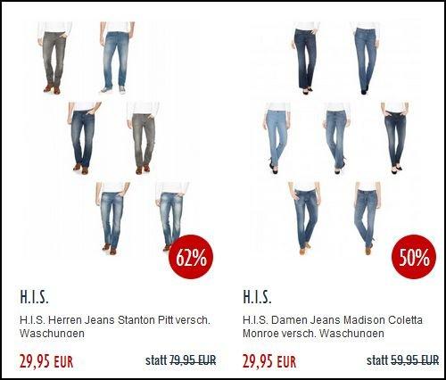 HIS Jeans Damen/Herren für 19,95€