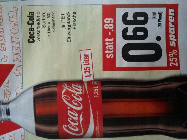 Ab Mo: Coca Cola, Fanta, usw. 1,25l für 0,66€ Edeka Kassel Nordstadt (evtl. lokal?) (1l = 0,53€)