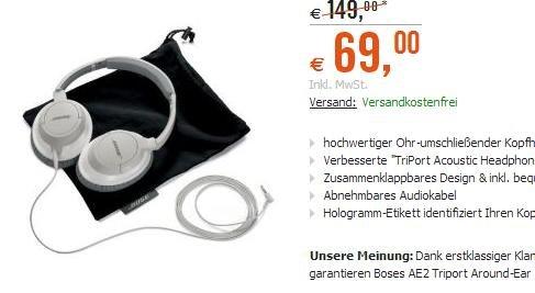 Bose AE2 Triport Around-Ear 2 Headphones weiß @Cyberport