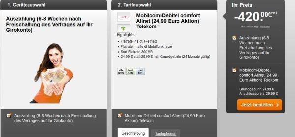 Mobilcom Debitel Tarif (D1) mit Allnet Flat + Internet Flat 300 MB für7,49 € pro Monat